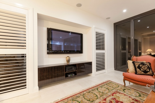 Modern TV cabinet with push to open doors and Drawers