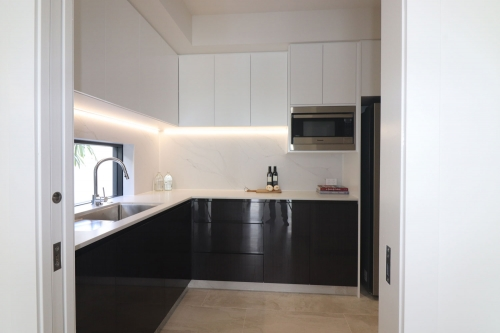 L shape pantry built and installed by Cuisine Kitchens on the gold Coast