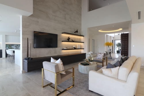 impressive TV cabinet in a brand new modern house on the gold Coast