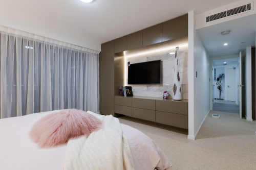 Media unit in the bedroom built in the Gold Coast